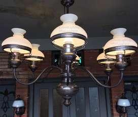 Lampu antik kuningan gantung cabang hiaa ruanh tamu teras pendopo