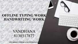Offline Typing and Handwriting Work (home based work) IN KOCHI