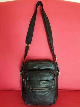 Tas import eks fashion hitam klit asli simpel tebal dan lentur for men