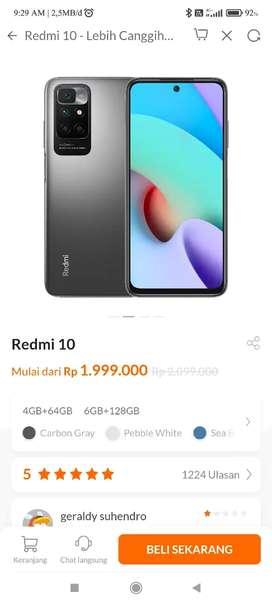 Redmi 10 ram 6/128 warna carbon grey