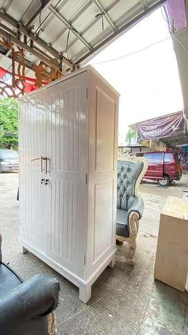 lemari kayu jati asli 2 pintu warna Putih + Bonus lemari kecil 6 pintu