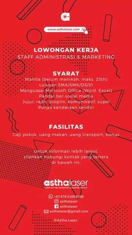 Lowongan kerja administrasi & marketing