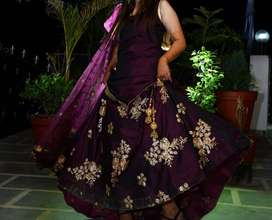 Wine color Kurta with bottom lehnga and dupatta.