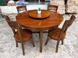 Meja makan bahan kayu jati finishing bisa request gambar