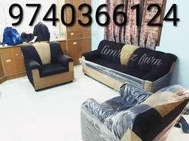 Grey jute 3+1+1 seater sofa