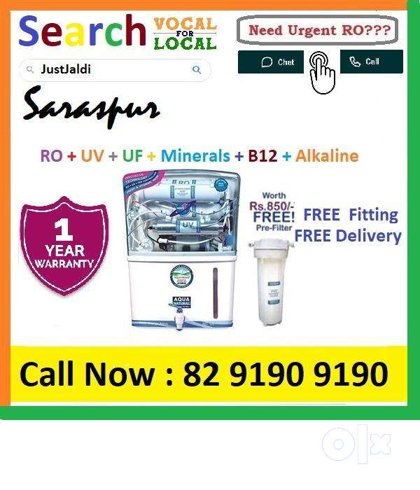 Saraspur1 AquaGrand RO Water Purifier Water Filter AC dth bed car Aqua