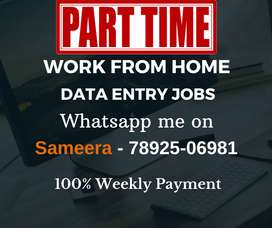 Best part time jobs. Work from home. Earn daily Rs.1000/-