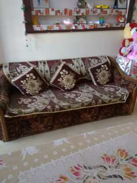 Sofa with center table and diwan cum doube