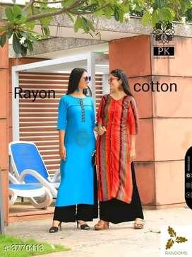 Rayon and cotton kurti