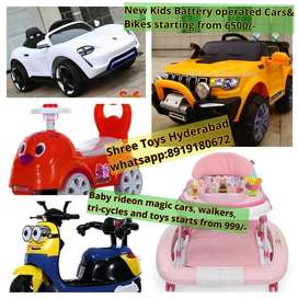 New Battery operated Cars, Jeeps& Bikes for kids starts from 6500/-