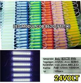 lampu led 24 volt 24v COB 9 Mata 8620 Panjang modul Strip Lensa cembun