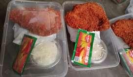 Nasi ayam katsu + salad buah