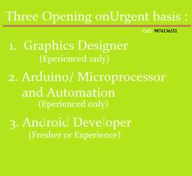 Urgent Required for Graphics Designer Android Developer Arduino Develo