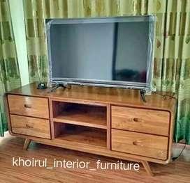 Bufet retro rak meja tv  solid kayu jati .