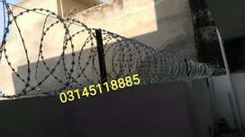 G.I Razor Wire with complete installation, Barbed Wire Chainlink Fence