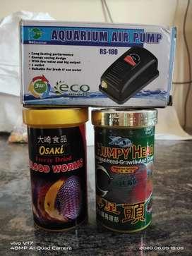 Fish foods and motor pump for aquarium