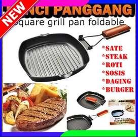 Panggangan teflon kotak gagang lipat/square grill pan foldable murah