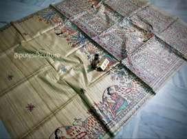 Pure tg madhubani natural hand print saree