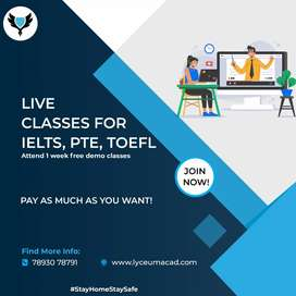 Live Classes for IELTS, PTE, TOEFL.. Pay as much you want..