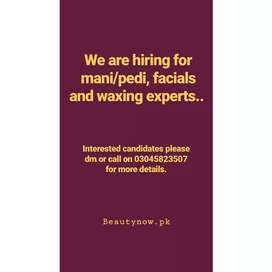 We are hiring beauticians for salon in ghari town phase 3 Islamabad.