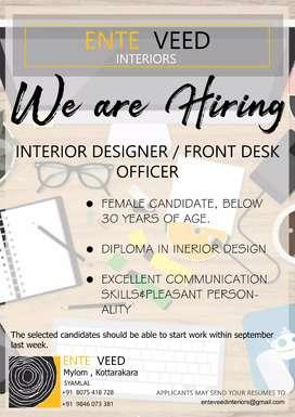 Job vacancy for Interior designer/ front desk office