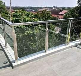 Dimas stel @6033 balkon stainlis kaca sepex elegan