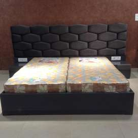 Brand new black colour King size bed with side table & without mattres