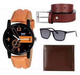 Amazing belt, glasses, wallet and watch combo