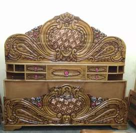 King size wooden oval head box bed