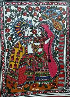 Handmade Madhubani painting in acrylics