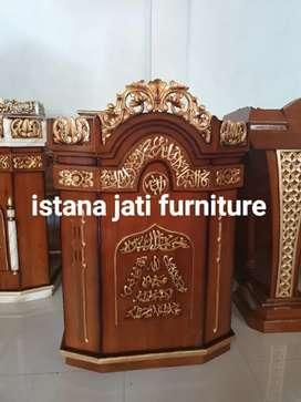 Mimbar masjid salina ukiran kayu jati ongkos kirim gratis