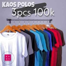 KAOS POLOSAN 100K 3pcs | Bahan Adem combed 30s Ukuran M L XL