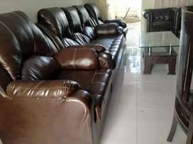 King size 5 seater leather sofa set with table
