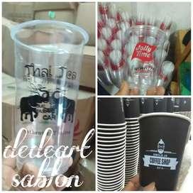 Sablon logo custom digelas plastik