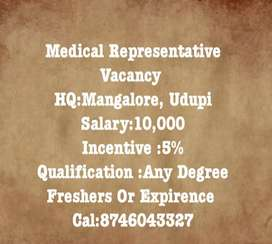 Medical Representative At Udupi And Mangalore