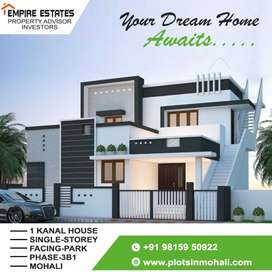 1 kanal Facing park house for sale in phase-3B1, Mohali