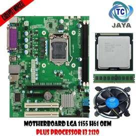 Paket MOBO Intel LGA 1155 H61 OEM Plus Processor I3 2120 Dan RAM 2GB