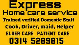 provide Family COOK, TRAINED HELPER, PATIENT CARE, COUPLE, MAID, ETC