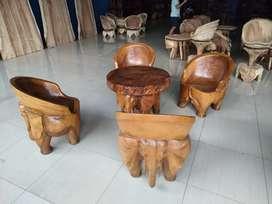 Kursi tamu/kursi taman motif ukir relief