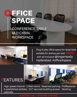 Plug and play Office space for lease per seat 1500 only