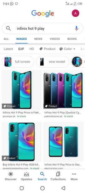 New mobile infinix hot 9 play use only one day full warranty