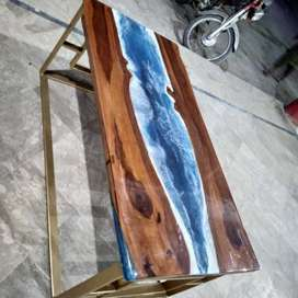 Sea waves epoxy resin table