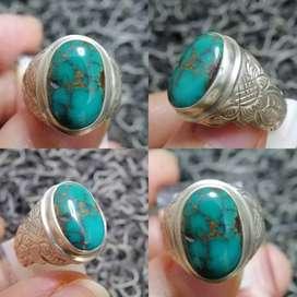 Natural Pirus Persia Turquoise Green Hijau Ring Silver 17