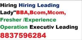 "Hiring Leading ""BBA,,Bcom,Mcom, Fresher /Experience Operation Executiv"