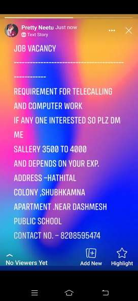 Telecalling and computer work