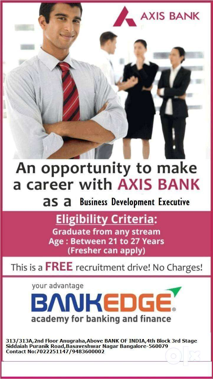 WANTED BUSINESS DEVELOPMENT EXECUTIVE    ONLY GRADUATES    AXIS BANK 0