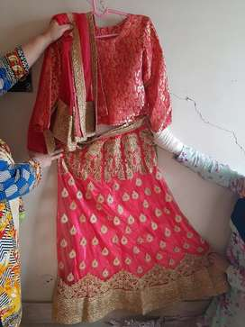 Appealing pinkish carrot + gold  lehnga with choli and net dupata