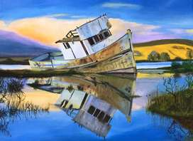 Canvas Acyrlic Painting - Boat