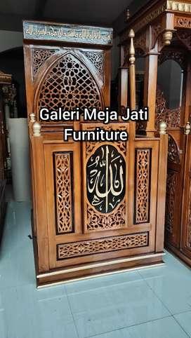 Mimbar masjid podium masjid kuba Feed kayu jati D530 wood
