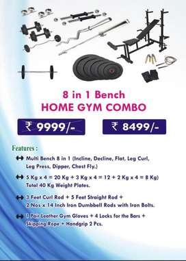 8 in 1 Bench,30 kg Rubber weight, 4 high quality rods Home Gym Combo